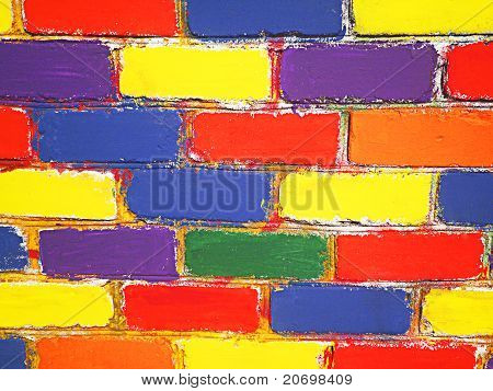 Brick wall painted children