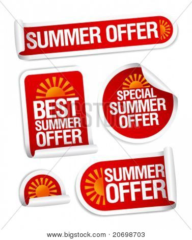 Best summer offers stickers set.