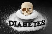 Composition with word Diabetes, sugar and human skull on black background poster