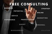 Man working with virtual screen on dark background. Consulting service concept poster