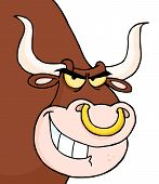 stock photo of nose ring  - Grinning Bull With A Nose Ring Cartoon Character - JPG