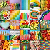 Creative collage with rainbow color mix poster