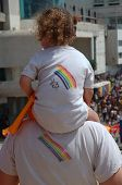 picture of gay pride  - A little girl and her father on Gay - JPG