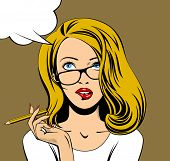 Blonde business woman in glasses looking up and biting her lips with a pencil in hand. Drawing in po poster
