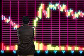 Asian Man Or Male Looking At Stock Trading Data Chart On Display Board poster