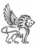foto of lions-head  - Isolated lion with wings for heraldry design - JPG