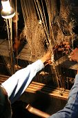 foto of handloom  - A weaver at an old Indian silk factory - JPG