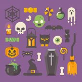 Set Of Halloween Items. Horror Flat Icons On Purple Background. Trick Or Treat poster