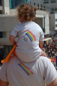 stock photo of gay pride  - A little girl and her father on Gay/lesbian pride day celebration