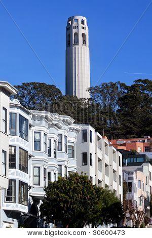 Coit Tower Row Houses San Francisco California