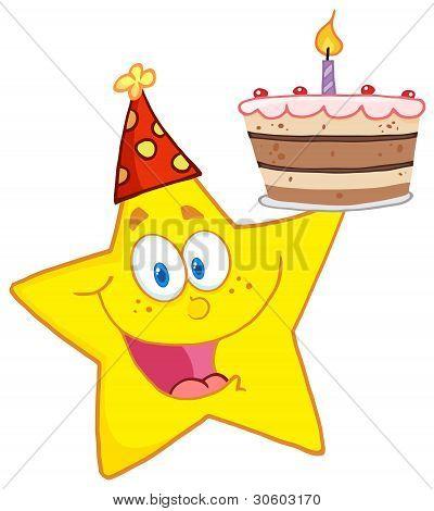 Happy Star Holding A Birthday Cake