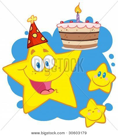 Yellow Stars With A Birthday Cake Over Blue Splatters