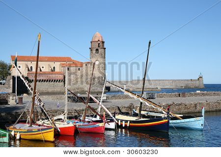 Cathedral Notre-dame-des-anges And Boats In Collioure