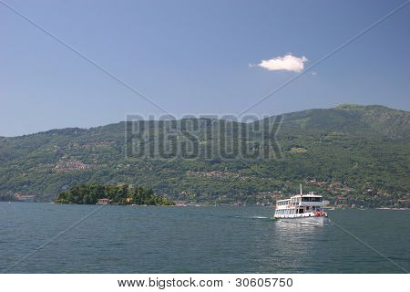 Ship at Lago Maggiore (Italy), view from Verbania to Mt. Mottarone