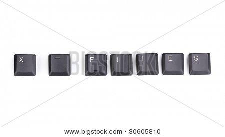 Tastatur Tasten sagen x Dateien isoliert auf weiss