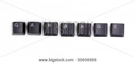 Keyboard keys saying garbage isolated on white