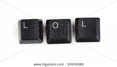 Keyboard keys saying lol isolated on white