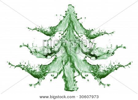 Christmas tree From Water Splashing