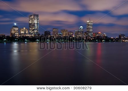 Night View Of The Boston Skyline Over The Charles River