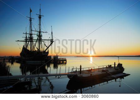 Old Ship At Night