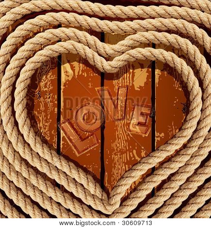 vector background with a heart of coiled rope on a wooden background