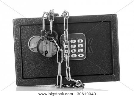 safe with chain and lock isolated on white