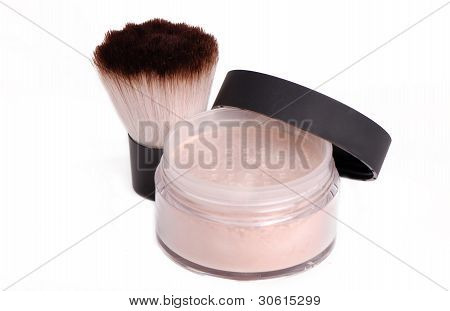 fluffy makeup brush with powder