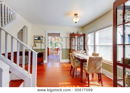 Dining Room In Beautiful Old American Small House.