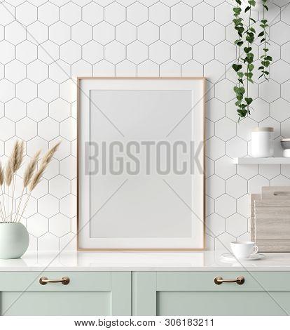 poster of Mock Up Poster Frame In Kitchen Interior, Scandinavian Style, 3d Illustration