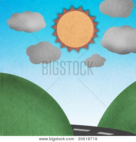 Road Cross Between Mountain With Clear Blue Sky In Summer Made By Recycle Paper