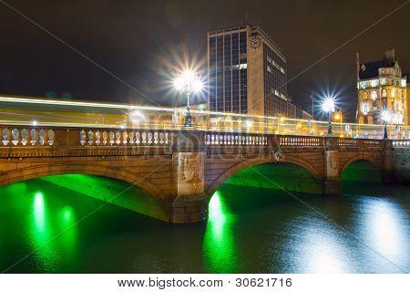 O'Connell street bridge in Dublin at night, Ireland