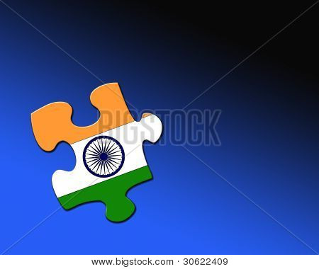 A single jigsaw piece filled with flag of India.