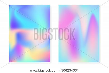 poster of Holographic Cover Set With Hologram Gradient Background. 90s, 80s Retro Style. Pearlescent Graphic T