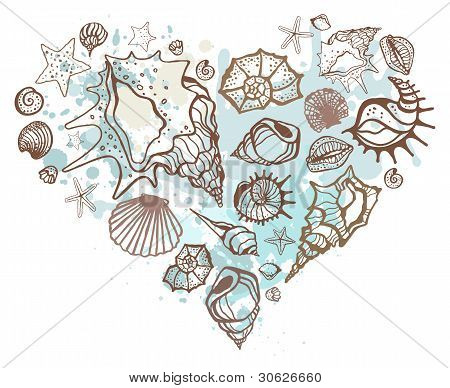 Heart of the shells. Hand drawn vector illustration