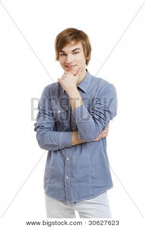 Portrait of a happy young man isolated over a white background