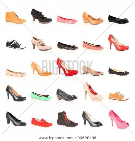 A picture of a set of different shoes over white background