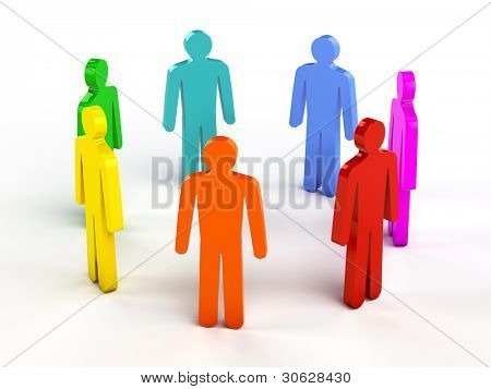 Diversity, teamwork, social network concept - colorful human figures in circle on white