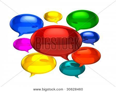 Colorful chat ballons on white background