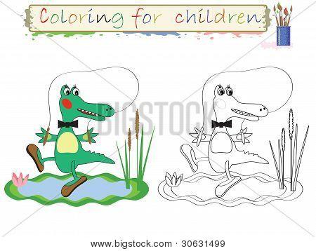Coloring for children,crocodile.