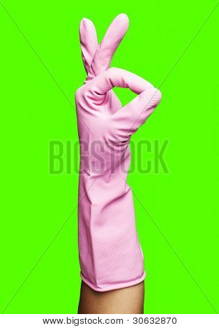 pink rubber gloves gesturing rabbit against a removable chroma key background