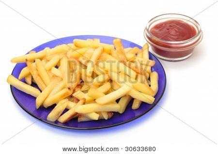 Fried Potatoes On Blue Plate