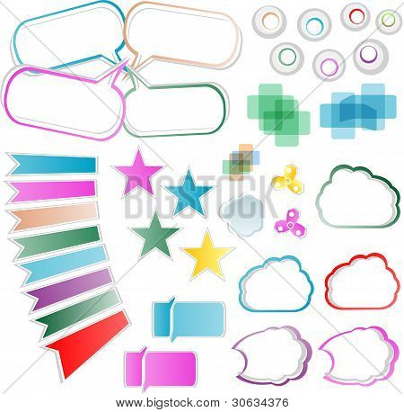 Vector Design Elements Set - bubbles cloud stars label tag stickers