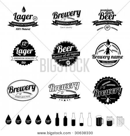 Collection of premium quality Beer / Brewery template Labels in old retro vintage design
