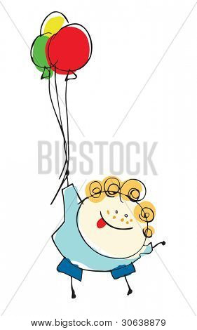 boy child flying with balloons - cartoon people vector illustration set