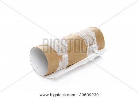 Empty toilet paper on a white background
