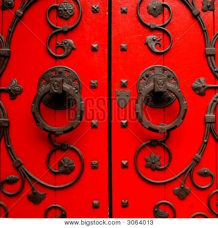 Church Door Square Red