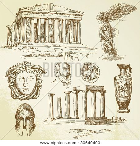 ancient greece - hand drawn set