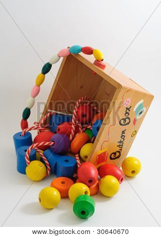 Wooden Button Box With Spilled Beads