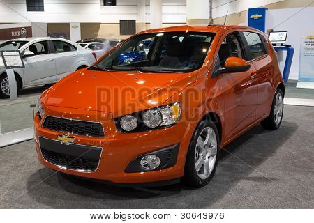 JACKSONVILLE, FLORIDA-FEBRUARY 18: A 2012 Chevy Sonic Hatchback at the Jacksonville Car Show on February 18, 2012 in Jacksonville, Florida.