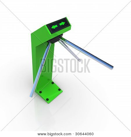 Turnstile green allowing the passage